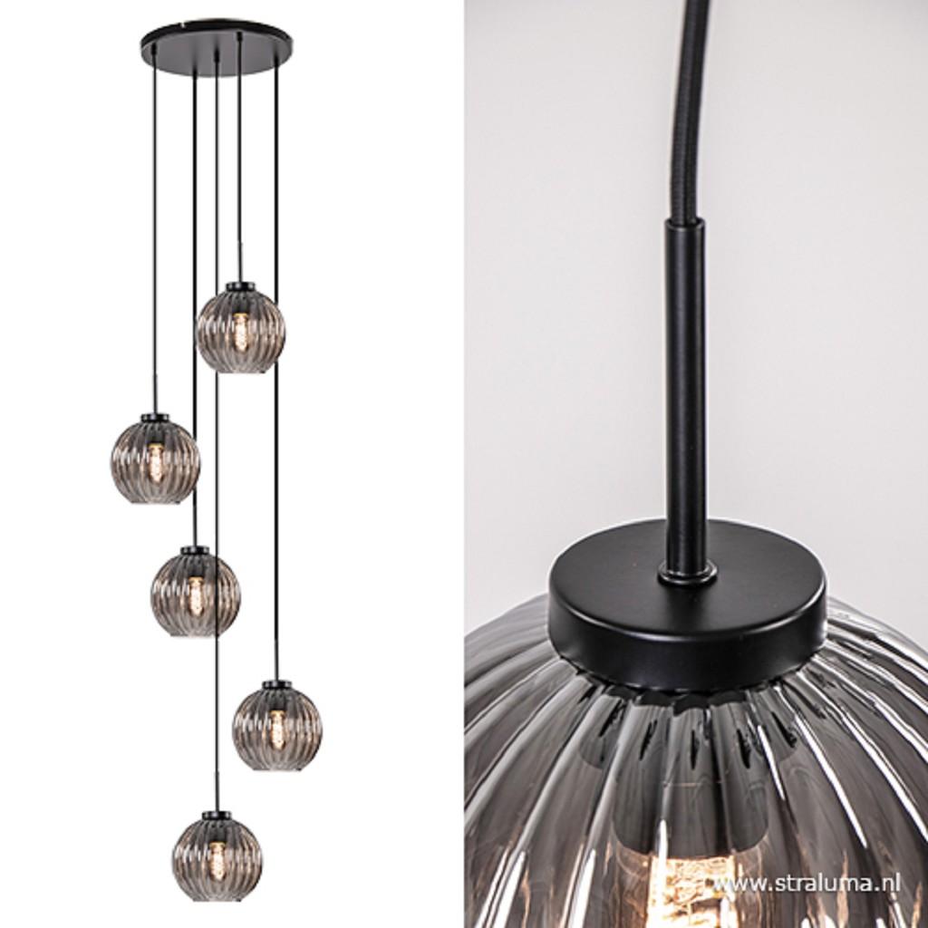 Hanglamp 5-lichts rond smoke glas/zwart