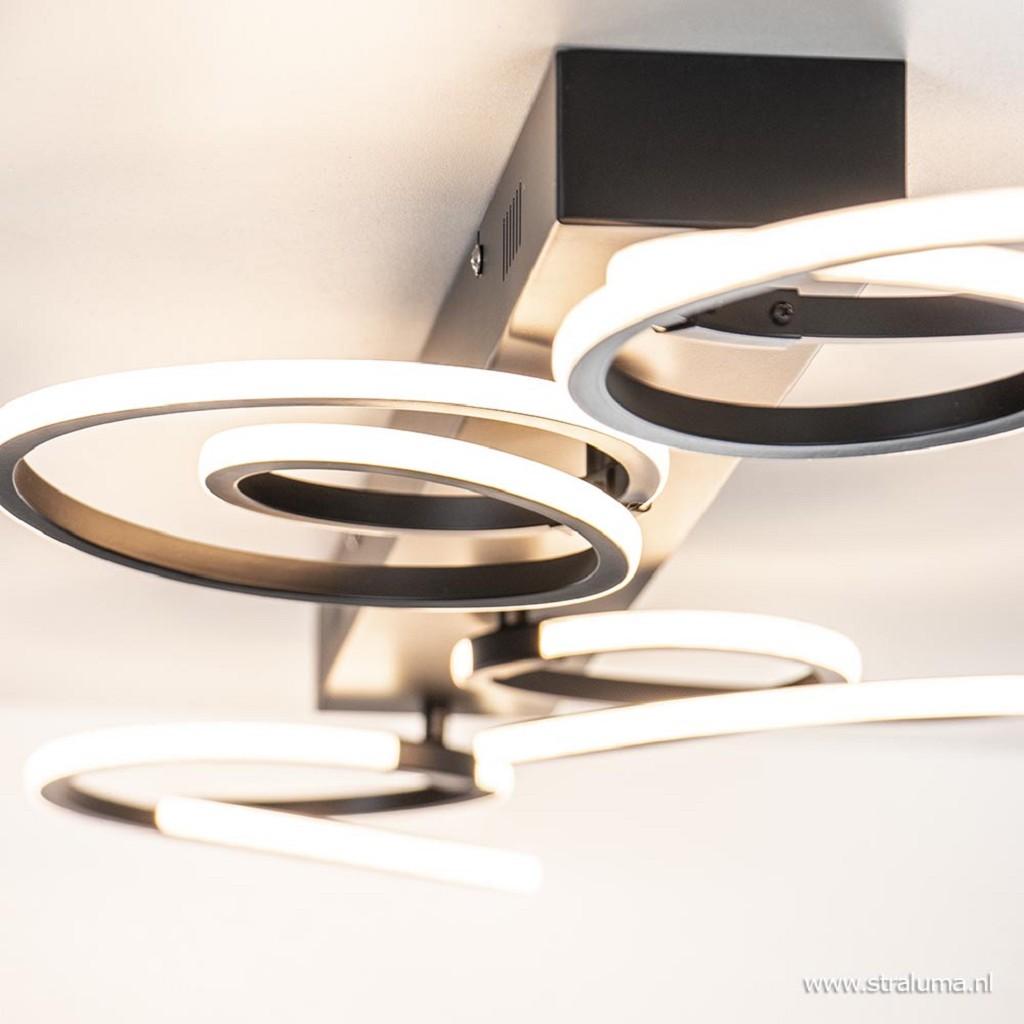 Zwarte plafondlamp ringen met dimbaar LED