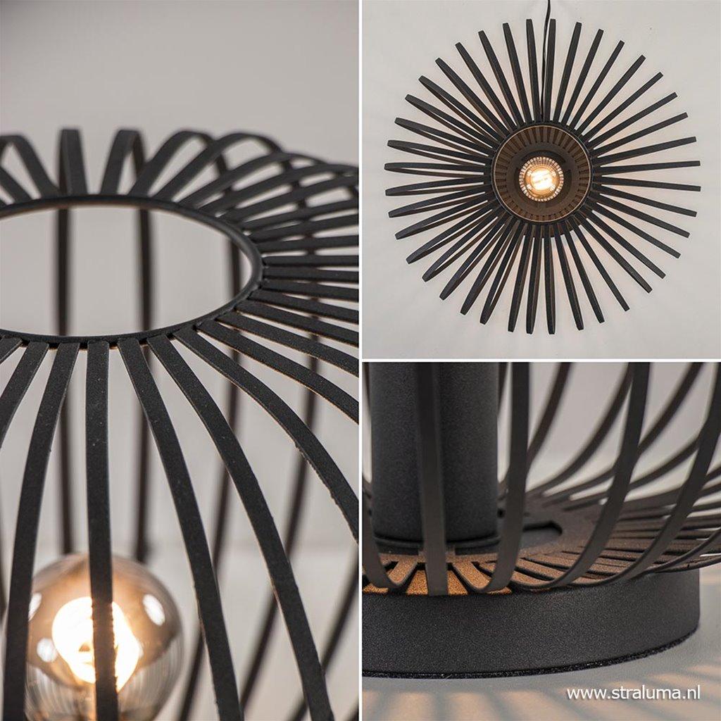 Moderne draad tafellamp rond mat zwart