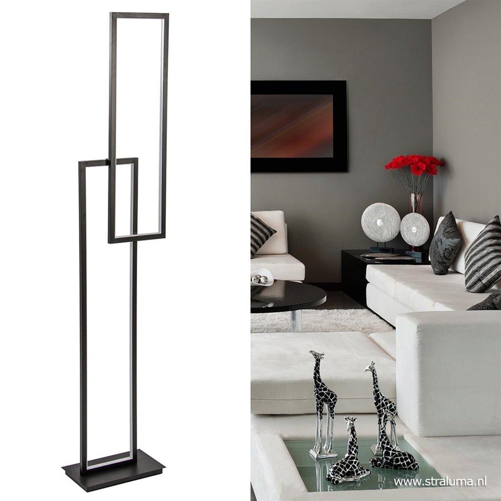 Dimbare LED vloerlamp rechthoek zwart