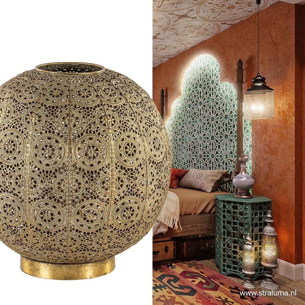 Ronde tafellamp antiek messing decoratief