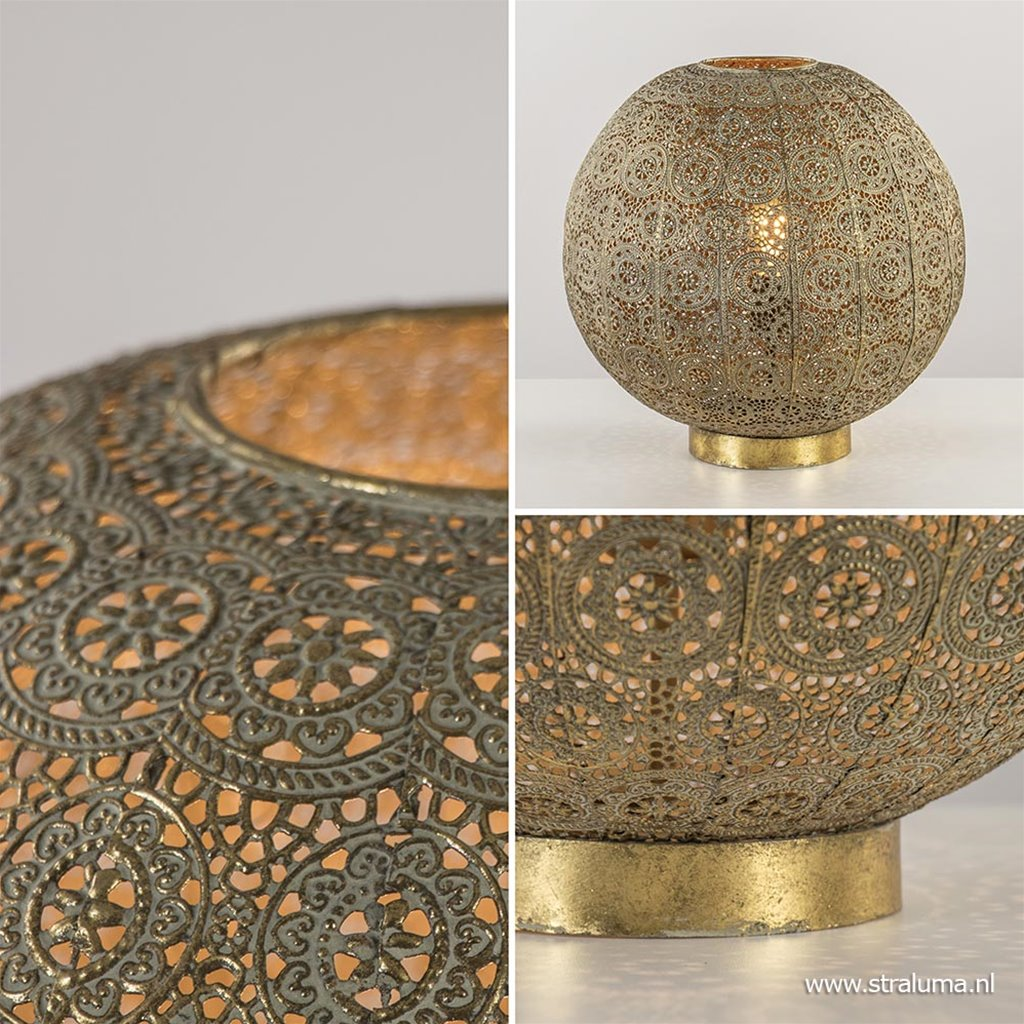Grote tafellamp antiek messing met decoratief dessin