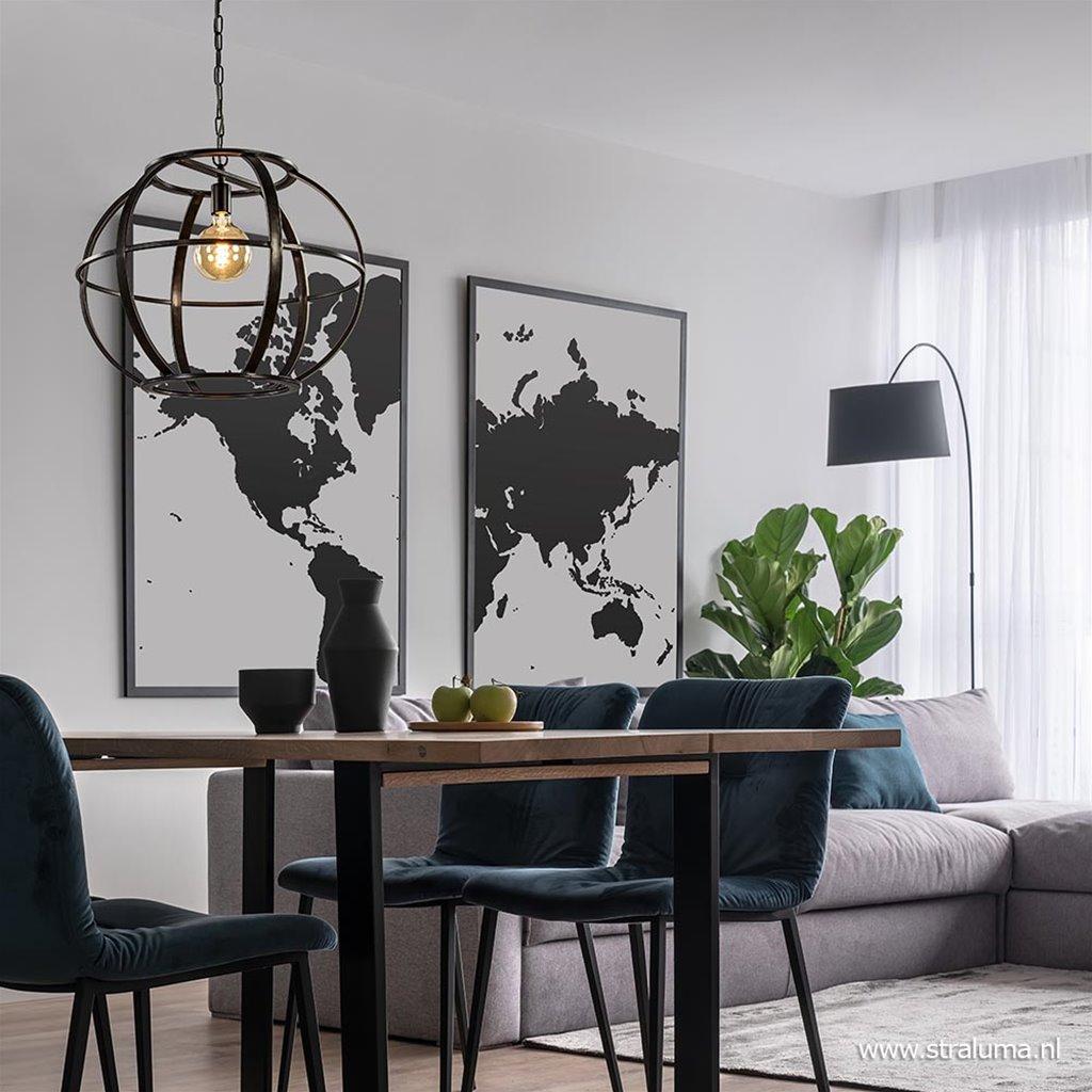Industrieel landelijke hanglamp zwart metaal