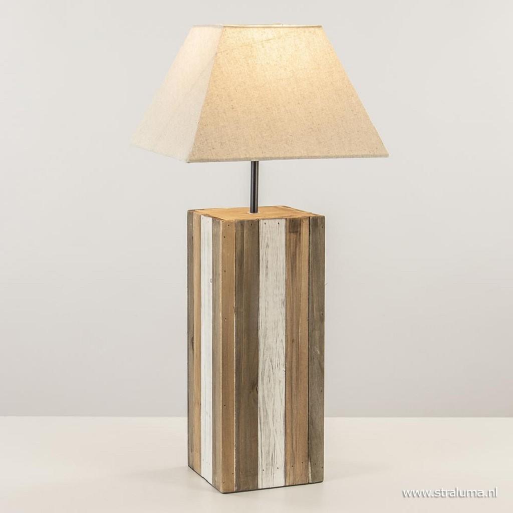 Houten tafellamp landelijk met crème kap