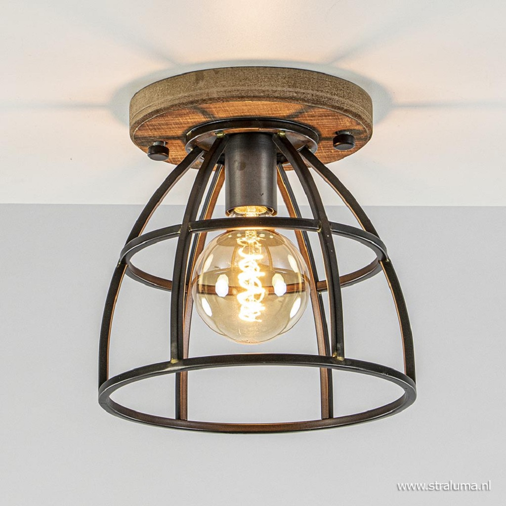 Plafondlamp korf zwart/hout 25cm