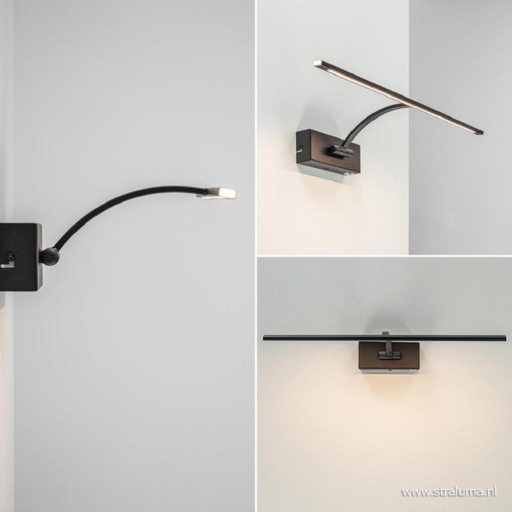 Dimbare LED schilderijverlichting zwart verstelbaar
