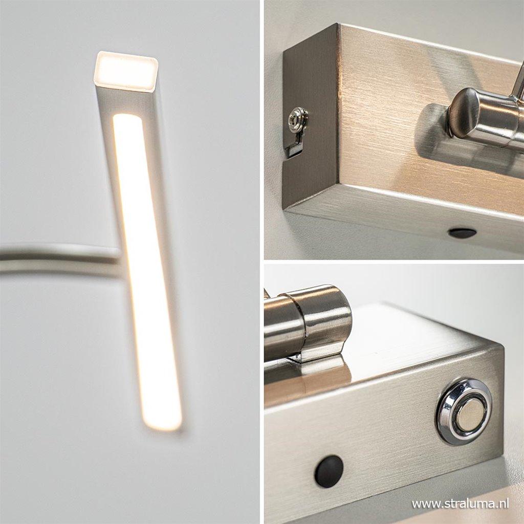 Nikkel LED wandlamp voor boven schilderij