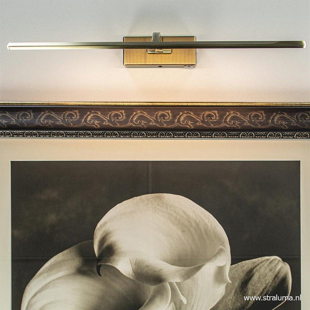 Schilderij wandlamp brons met dimbaar LED