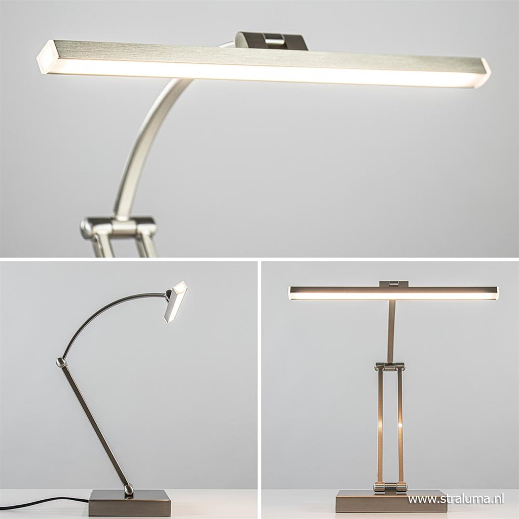 Moderne bureaulamp nikkel met geïntegreerd LED