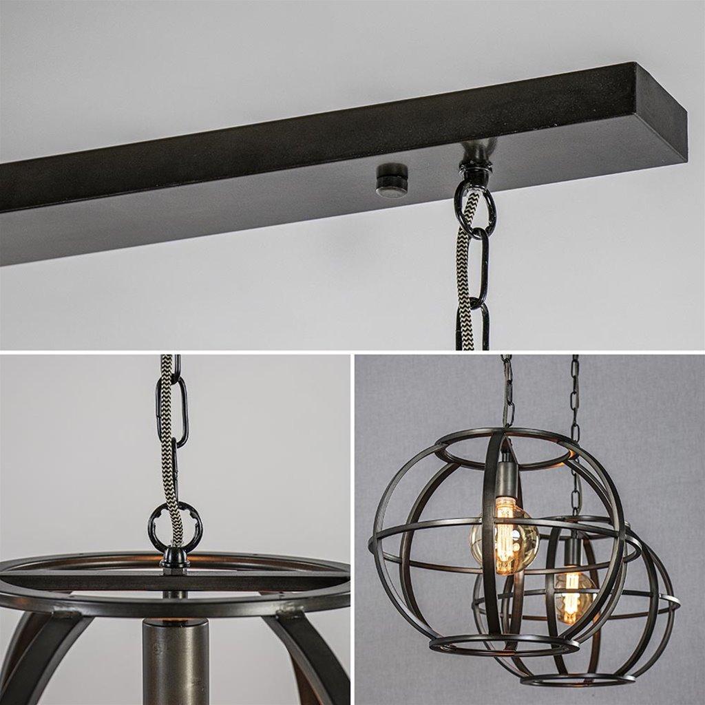 2-Lichts eettafelhanglamp zwart staal