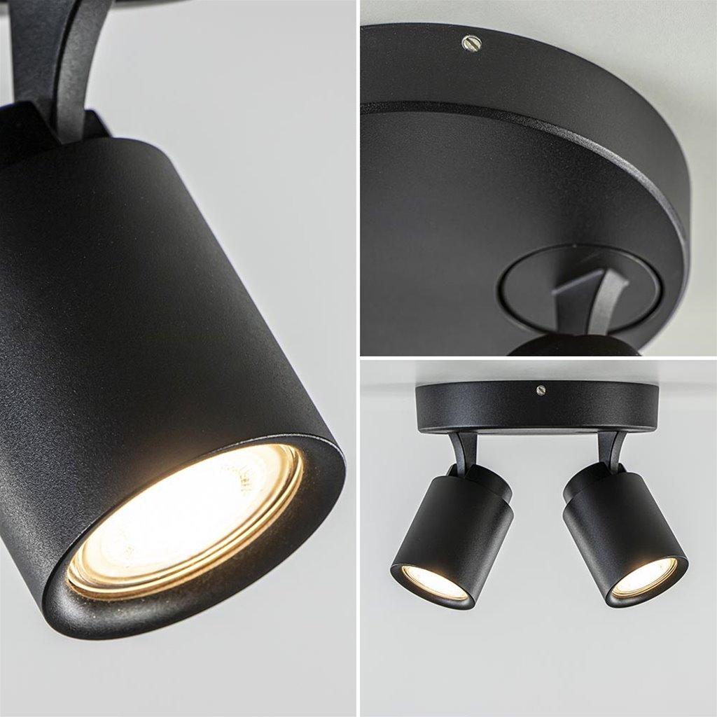 Ronde 2-lichts opbouwspot GU10 mat zwart