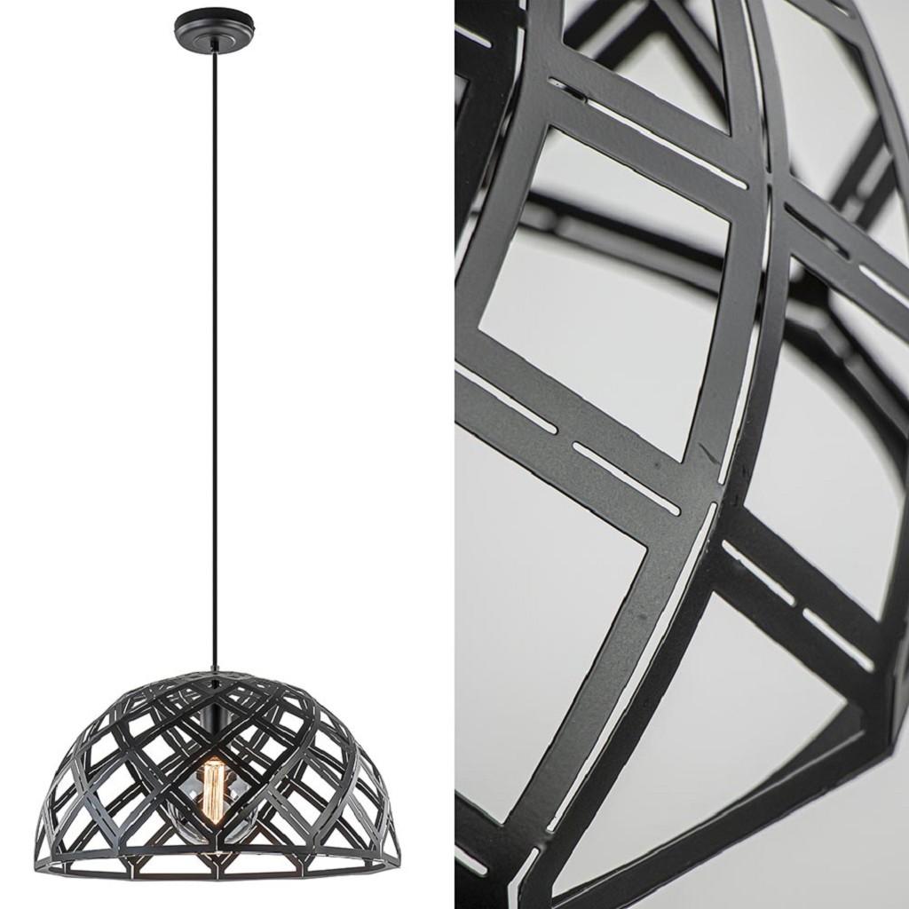 Scandinavische hanglamp mat zwart met open structuur