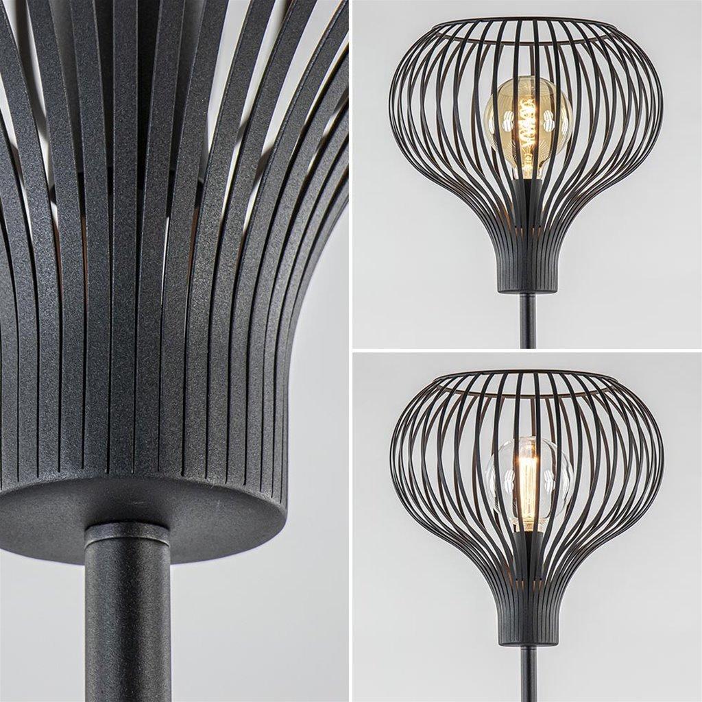 Modern zwarte vloerlamp met draad kap