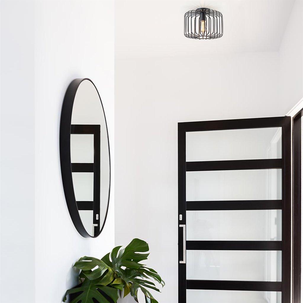 Kleine draad plafondlamp mat zwart