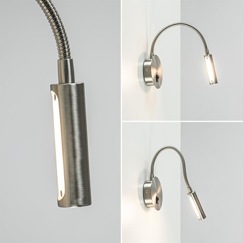 Moderne LED wandlamp nikkel met flexibele arm
