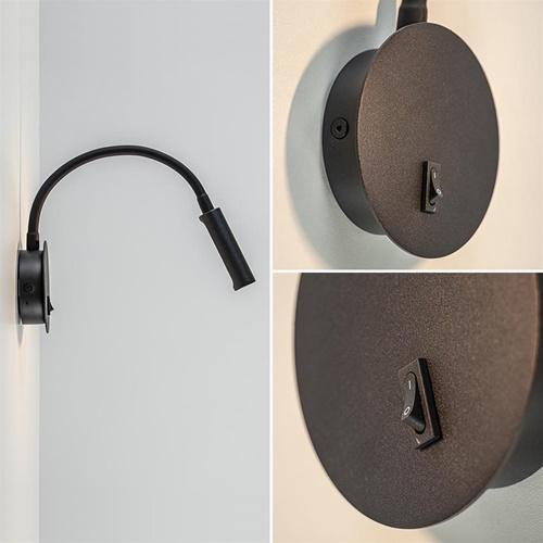 Moderne LED wandlamp zwart verstelbaar