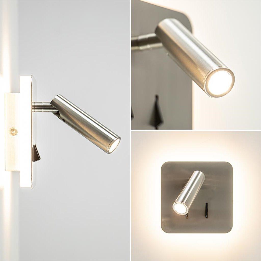 Vierkante LED wandlamp met verstelbare spot