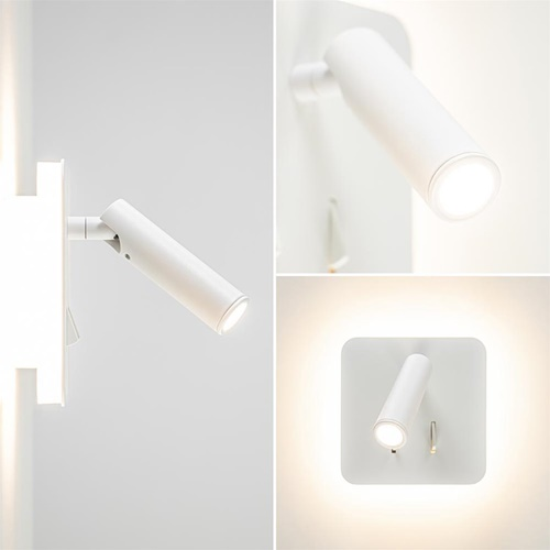 Witte wandlamp vierkant inclusief LED en spot
