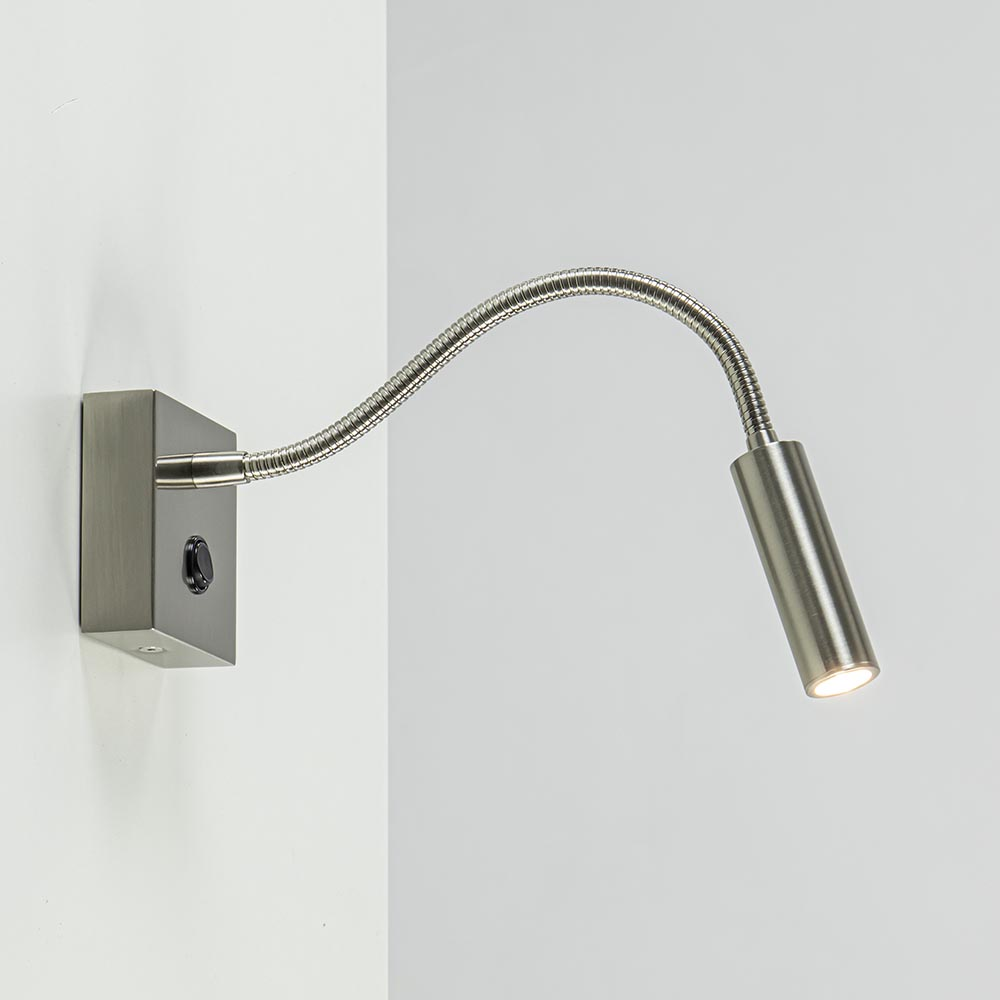 Kleine LED wandlamp nikkel met flexibele arm