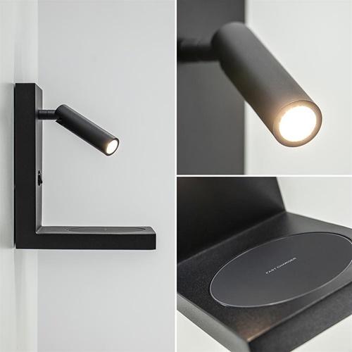 Bedlamp leesspot zwart incl. fast charger
