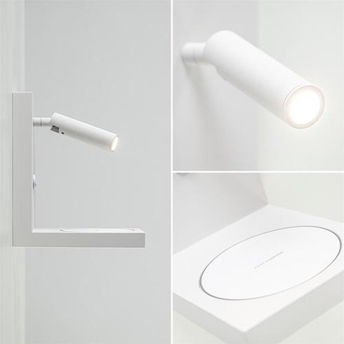 Moderne wandlamp wit inclusief LED en fast charger