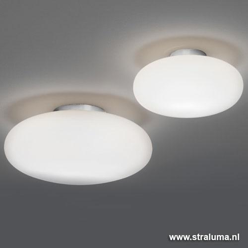 Design plafondlamp nikkel  opaal glas