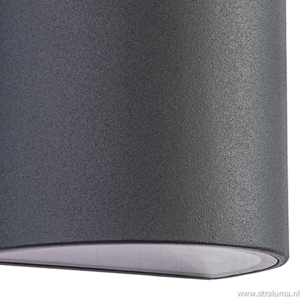 Buiten wandlamp half rond antraciet LED