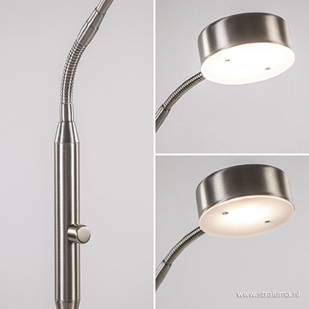 Moderne vloer/leeslamp nikkel dimbaar