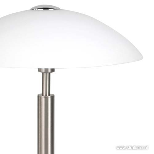 Tafellamp nikkel/glas wit + touchdimmer