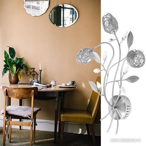 Decoratieve wandlamp Toscane nikkel