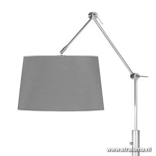 Vloerlamp Magna knikarm stof grijs