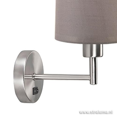Wandlamp met lampenkap olijf staal