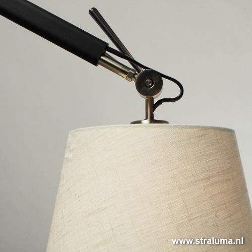 Verstelbare wandlamp zwart-staal modern