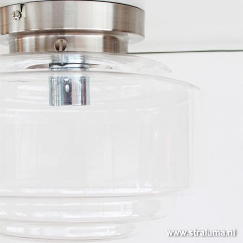 Plafondlamp Art Deco helder glas