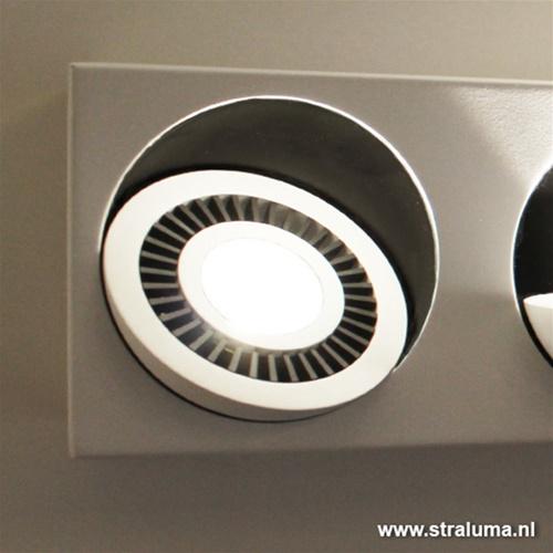 Plafondspot box 2-lichts led wit/zwart 3000k