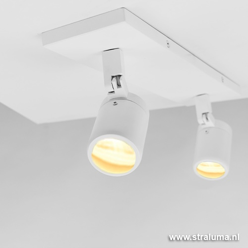 Plafondspot 2-lichts wit gu10 ip44