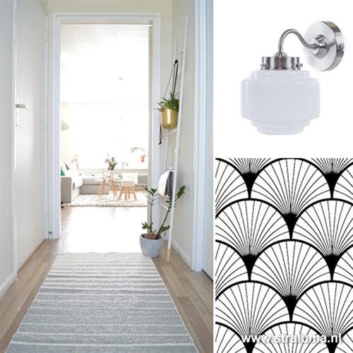 Art Deco wandlamp staal met wit glas