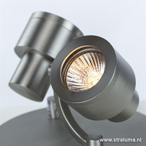 Plafondspot 2-lichts rond nikkel gu10