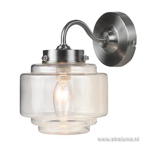 Deco wandlamp staal met helder glas