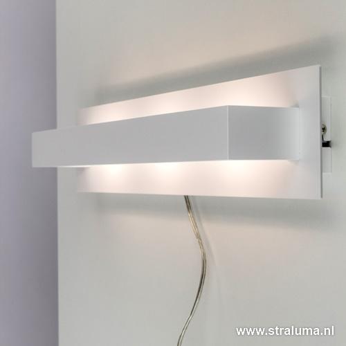 LED wandlamp design wit met schakelaar
