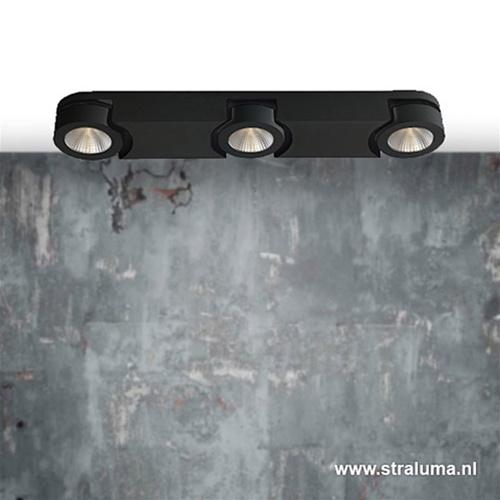 Plafondspot 3L balk zwart afgerond 3000k