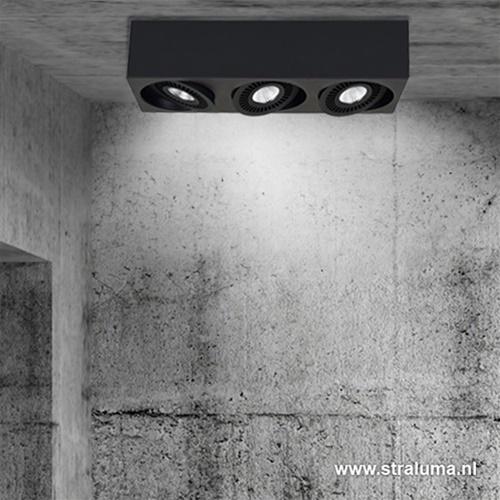 Plafondspot Eye 3L box zwart led 3000k