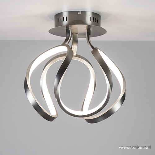 Design plafonnière staal met LED