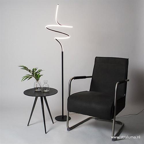 Zwarte krul vloerlamp LED dimbaar
