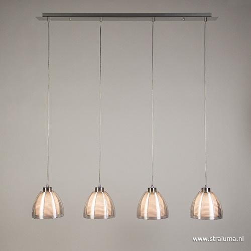 Hanglamp balk 4-lichts alu draad/glas