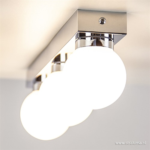 Chromen badkamerlamp met glas 3-lichts