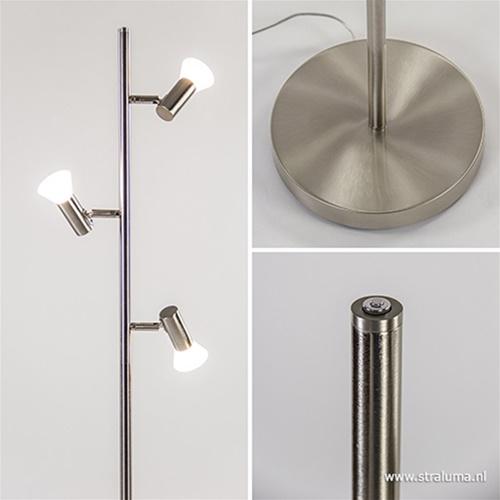 Moderne vloerlamp LED dimbaar nikkel