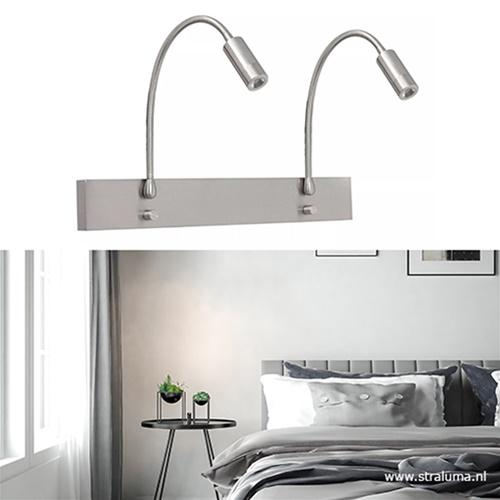 Verstelbare wandlamp staal 2-lichts LED