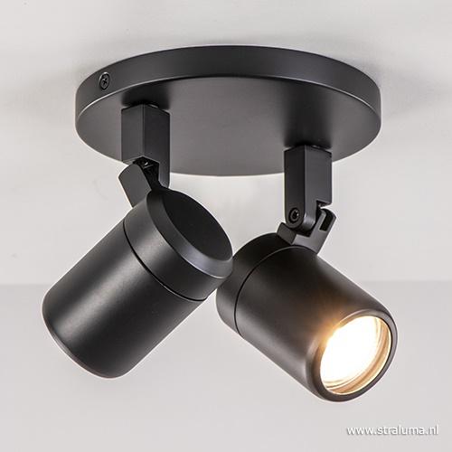 Plafondspot rond 2-lichts zwart IP44