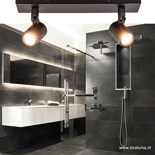 Plafondspot Rain 2L zwart op balk tubes IP44